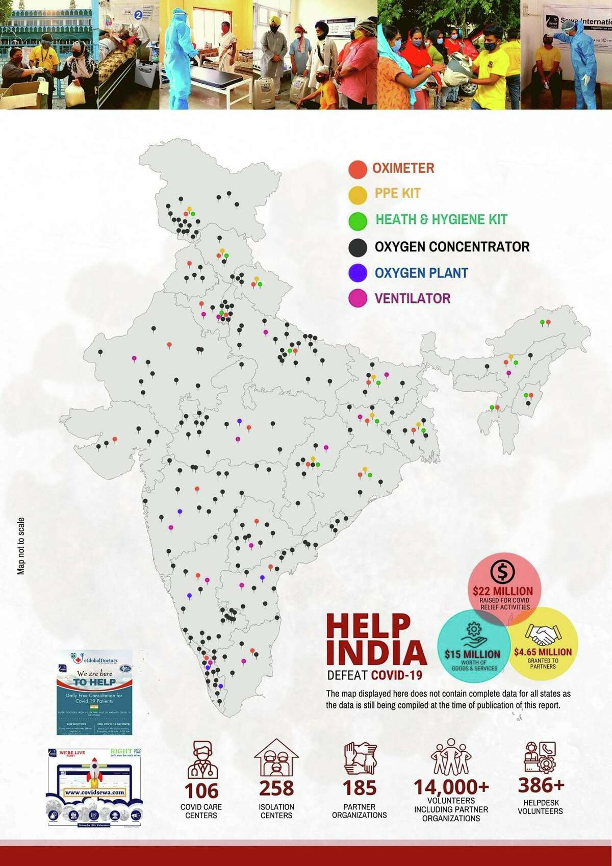"""Nonprofit Sewa International has distributed more than 5,990 oxygen concentrators and 177 ventilators to hospitals across India as part of its """"Help India Defeat COVID-19"""" campaign."""