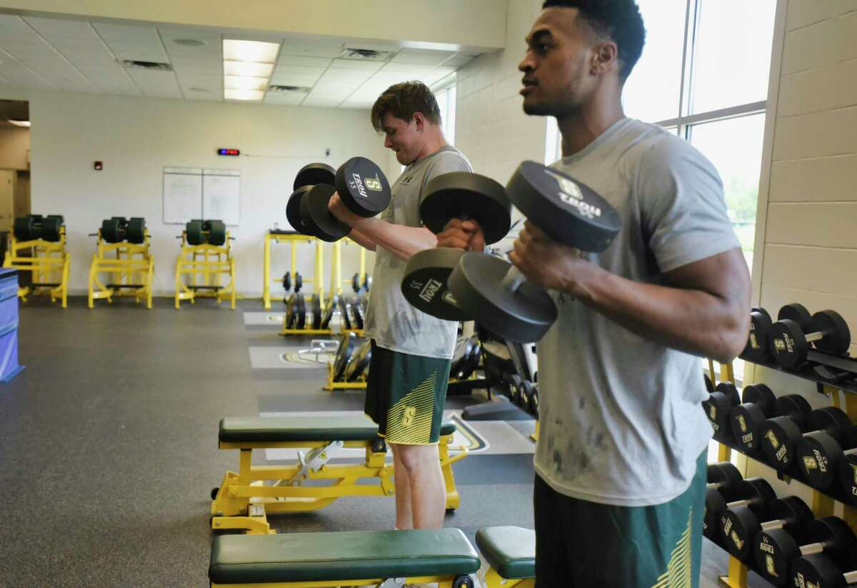 Siena men's basketball players, Jackson Stormo, left, and Jayce Johnson work out at the college with the rest of their team on Tuesday, June 29, 2021, in Loudonville, N.Y. (Paul Buckowski/Times Union)