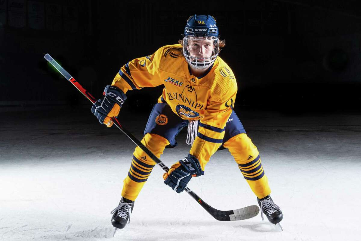 Quinnipiac men's ice hockey player Ty Smilanic during the 2020-21 season.