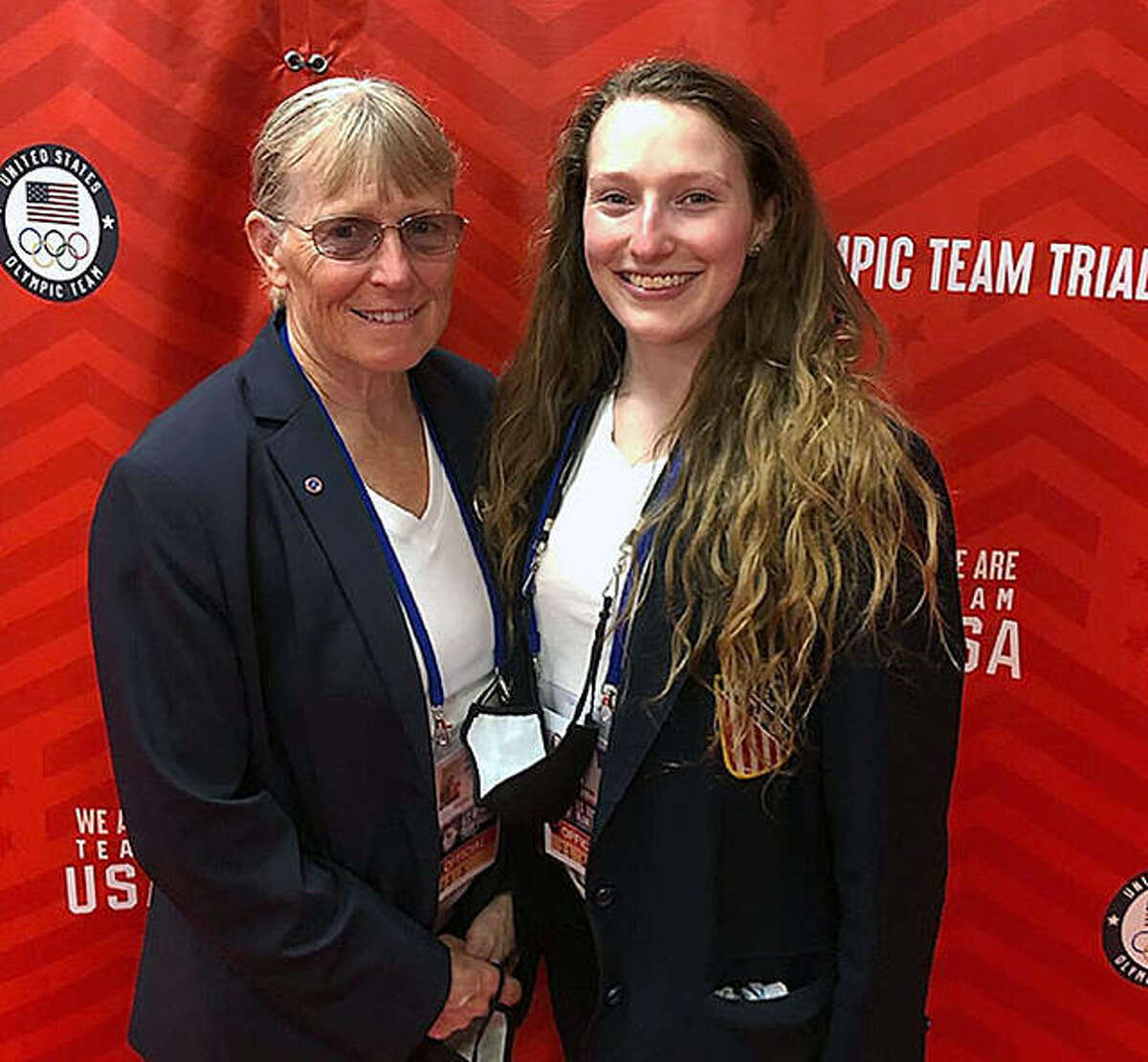 Alton's Judy Johnson-Durr and her daughter, Posy Durr, right, were auxiliary judges for balance beam events during the recent women's portion of the US Gymnastics Olympics Team trials in St. Louis.