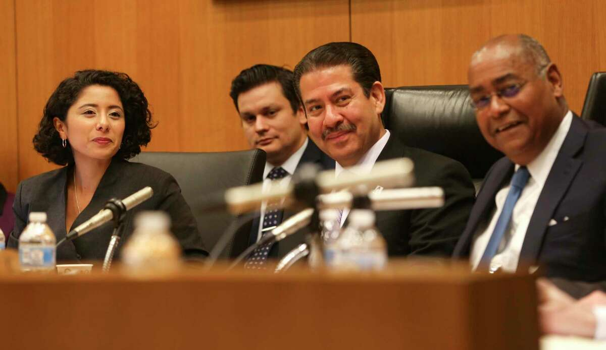 Harris County Judge Lina Hidalgo, left, Precinct 2 Commissioner Adrian Garcia and Precinct 1 Commissioner Rodney Ellis, shown her in January 2019, voted Tuesday to create a county administrator position to oversee day-to-day operations of the county's 20 departments. The two Republican Commissioners Jack Cagle and Tom Ramsey called it a power grab.