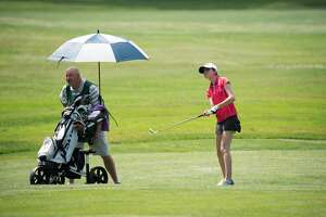 Nicole Criscone,15, of Clifton Park during the opening round of the 2021 NYS Women's Amateur & Mid-Amateur Championships at Teugega Country Club in Rome, N.Y. on June 28, 2021. (NYSGA)