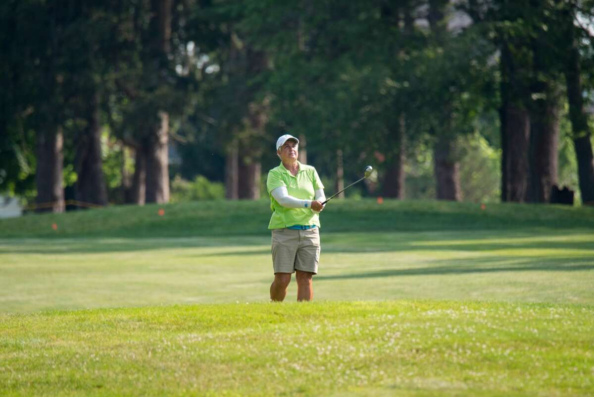 Pat Mayne during the opening round of the 2021 NYS Women's Amateur & Mid-Amateur Championships at Teugega Country Club in Rome, N.Y. on June 28, 2021. (NYSGA)