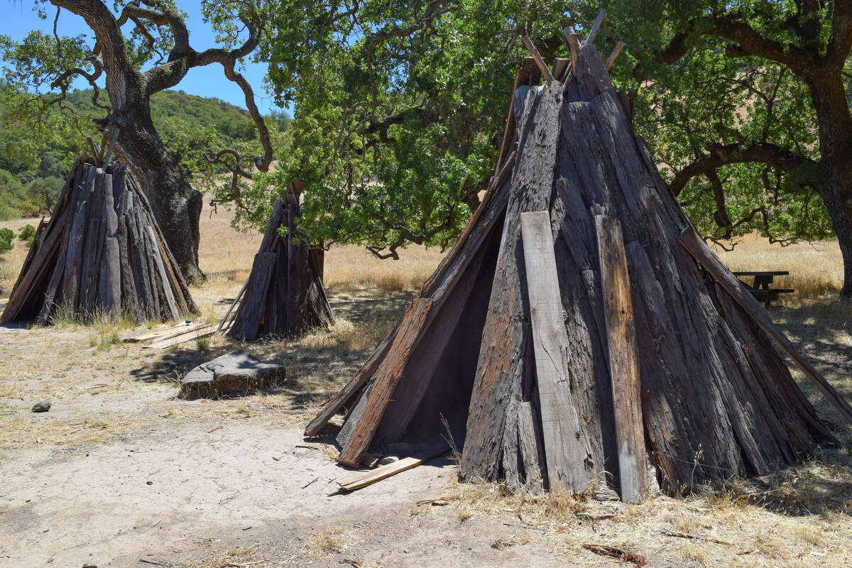 A reconstruction of a Miwok village at Olompali State Historic Park.