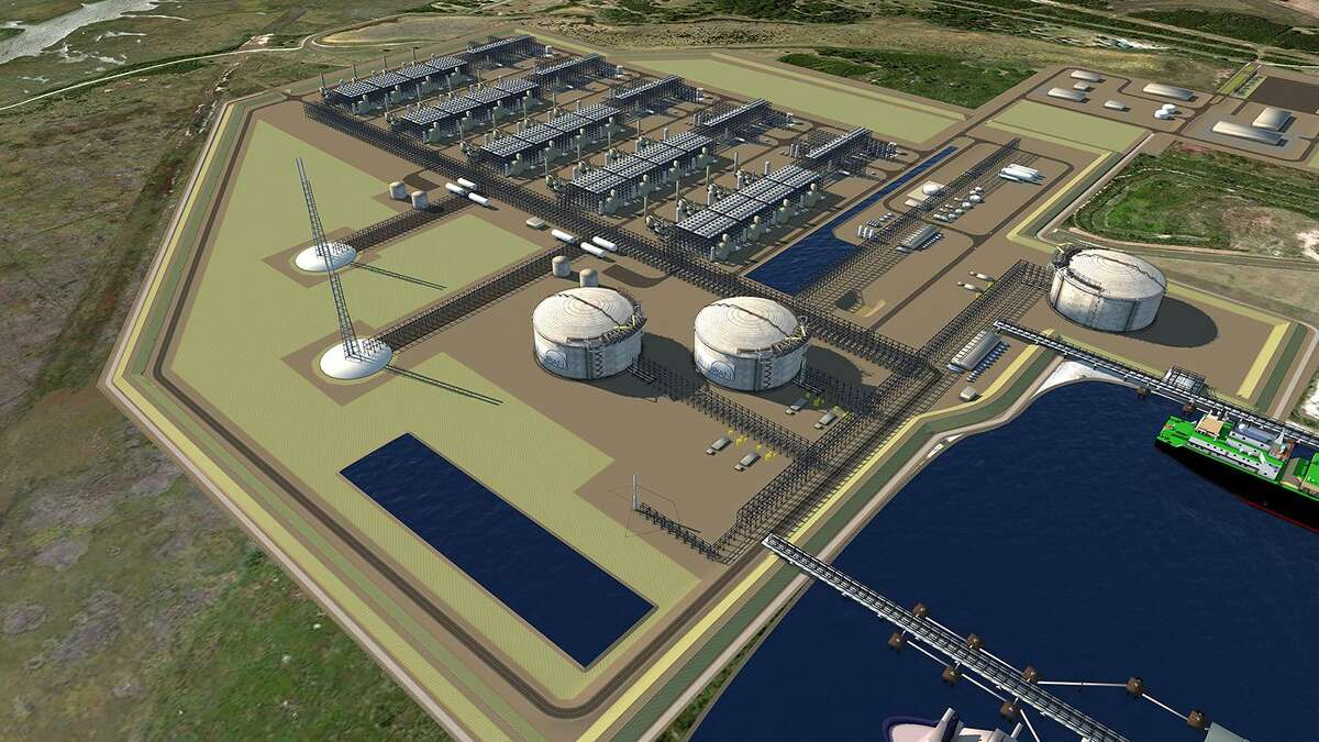 Tellurian Driftwood LNG plant rendering.