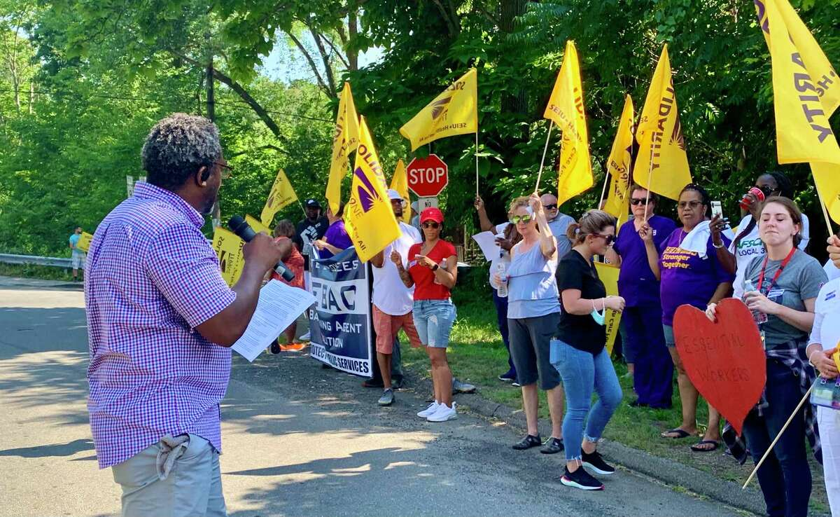 """State workers from Connecticut Valley Hospital and other agencies in Middletown held a rally on June 29, 2021 to """"demand fair contract negotiations"""" from the Lamont administration."""