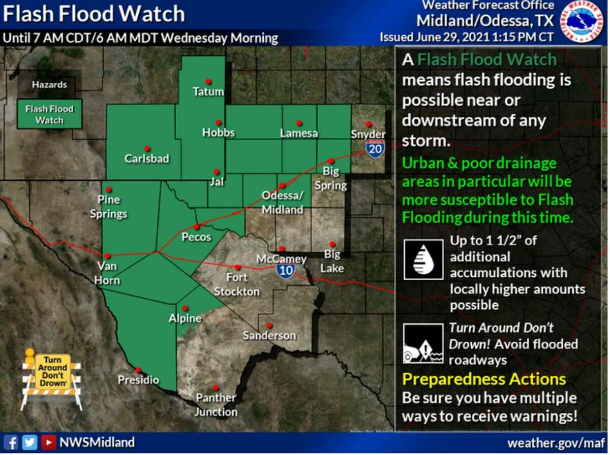 A Flash Flood Watch now in effect through Wednesday Morning. Remember to turn around if you encounter flooded roads!