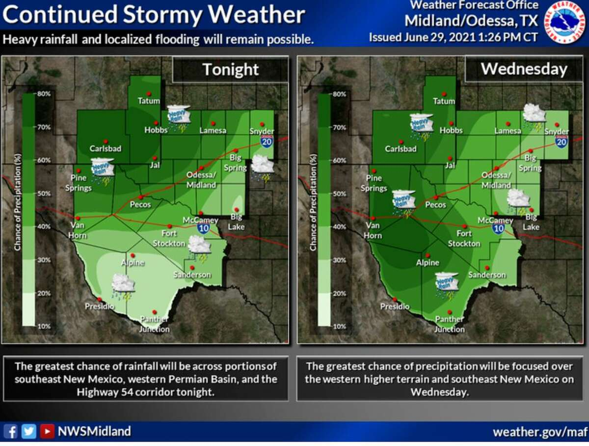 The greatest chance of rainfall will be for portions of southeast New Mexico, the western Permian Basin, and Highway 54 corridor tonight. Wednesday the greatest chance of rainfall covers much of the western higher terrain and southeast New Mexico. Heavy rainfall will remain possible.