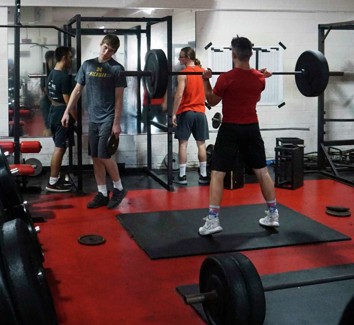 Several members of Reed City's football program have engaged in nightly weight-lifting sessions this summer to prepare for the upcoming season. (Pioneer photo/Joe Judd)
