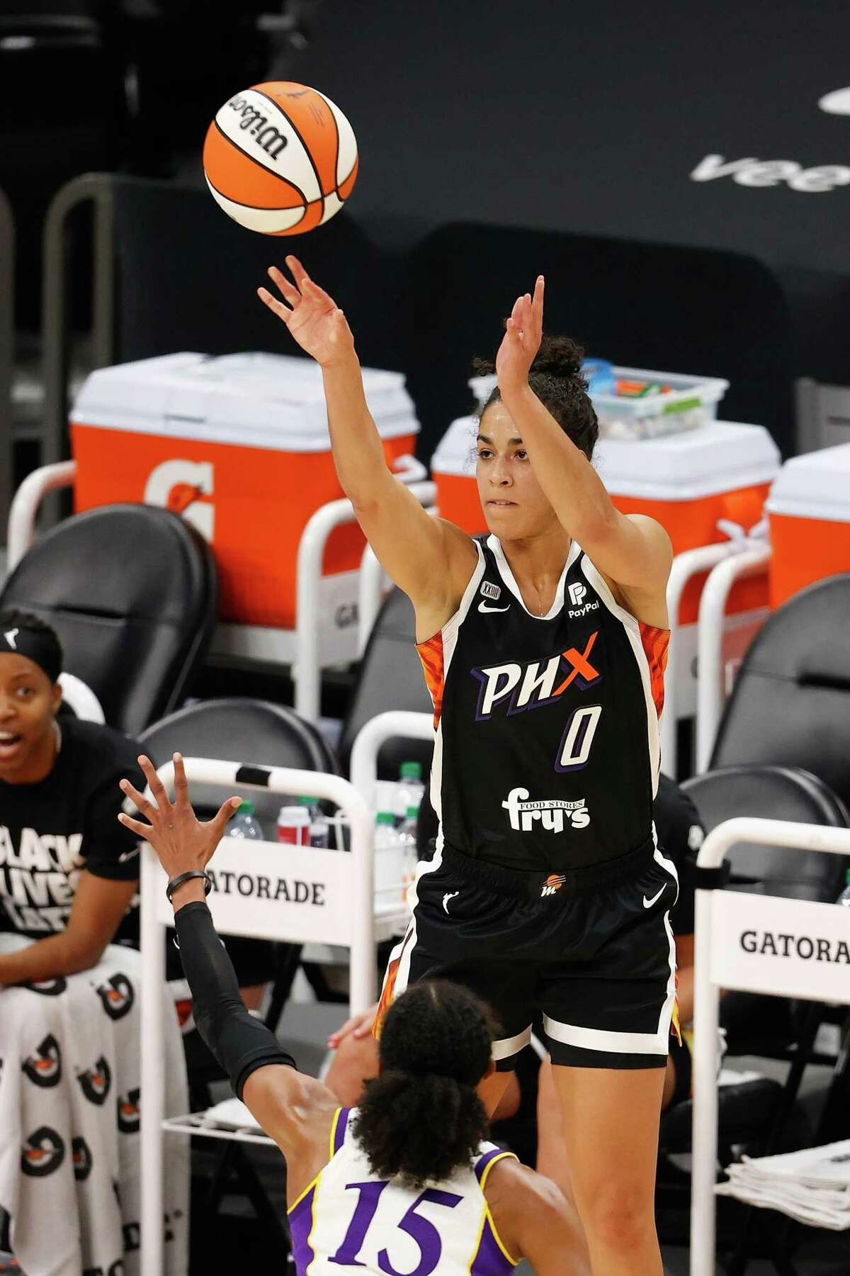 PHOENIX, ARIZONA - JUNE 27: Kia Nurse #0 of the Phoenix Mercury attempts a three-point shot against the Los Angeles Sparks during the first half of the WNBA game at Phoenix Suns Arena on June 27, 2021 in Phoenix, Arizona. NOTE TO USER: User expressly acknowledges and agrees that, by downloading and or using this photograph, User is consenting to the terms and conditions of the Getty Images License Agreement. (Photo by Christian Petersen/Getty Images)