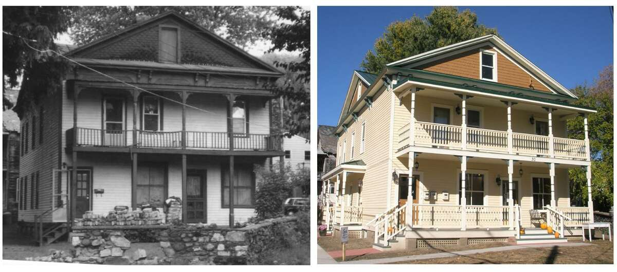 30 Beekman Street in Saratoga Springs is seen in before-and-after images. The view is part of a walking tour on July 4.