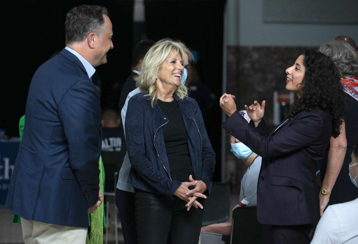 First Lady Jill Biden and Second Gentleman Douglas Emhoff meeting Harris County Judge Lina Hidalgo during a tour at Houston Astros' vaccination event Tuesday, June 29, 2021, at Minute Maid Park in Houston. The Astros, in partnership with Houston Methodist, hosted free COVID-19 vaccinations to the public on Tuesday.