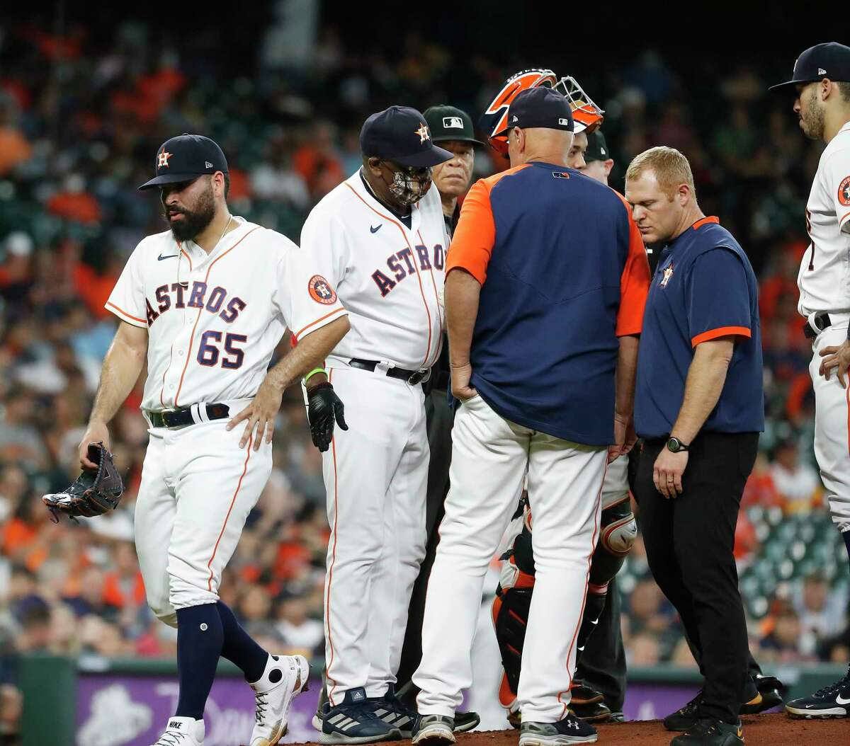 Astros righthander Jose Urquidy (65) departed his June 29 start after recording four outs, leading to his second trip to the injured list this season with a shoulder ailment.
