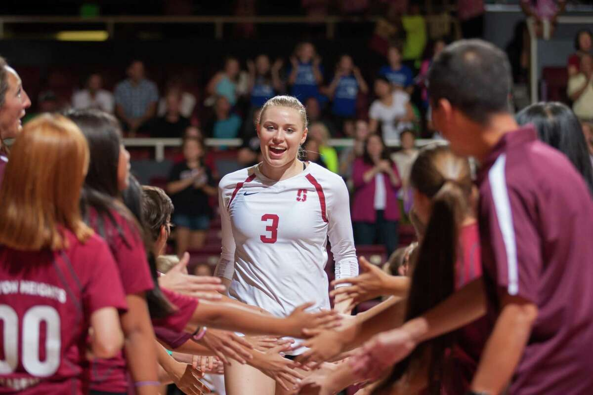 Volleyball player Hayley Hodson in a match Oct. 30, 2015, at Maples Pavilion. Hodson was frustrated that she was unable to market her stardom while she played for the Cardinal. The NCAA will vote Wednesday on whether to let student athletes profit from their own names and images - an effort that began in California.
