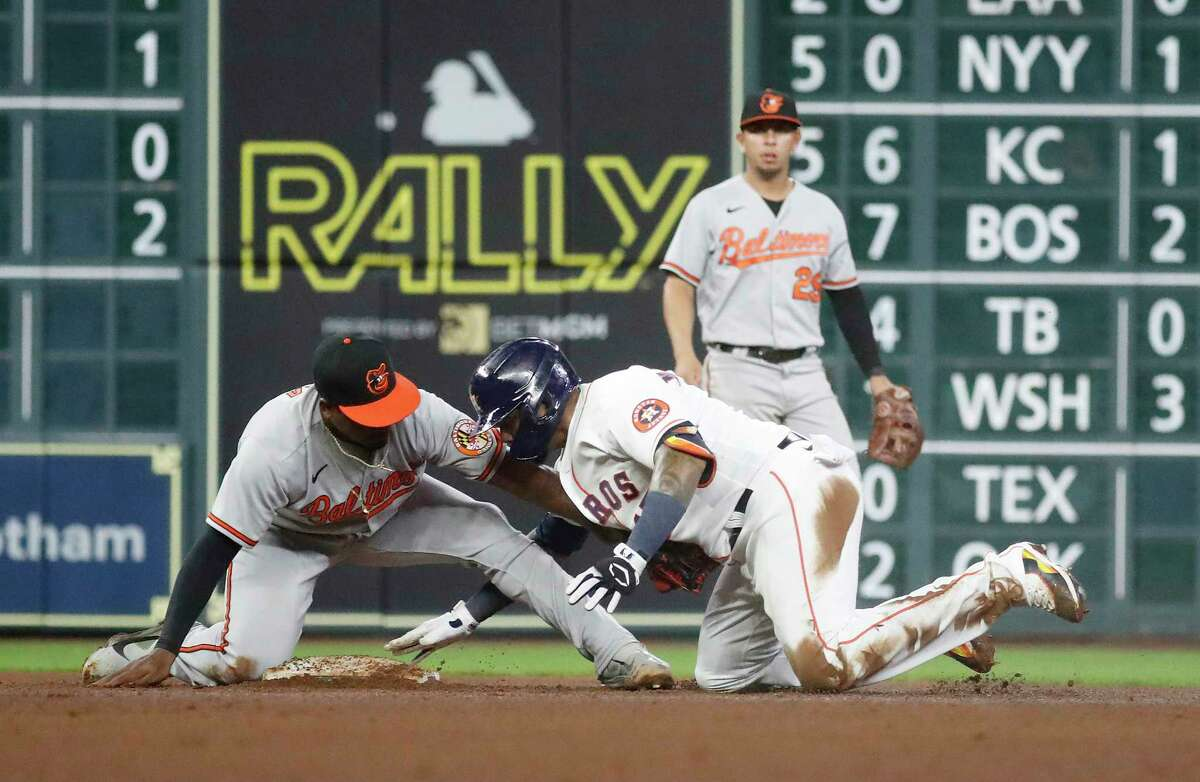 Martin Maldonado being thrown out at second base after admiring a hit for too long was among the Astros' offensive lowlights Tuesday as they lost to the Orioles for the second consecutive night.
