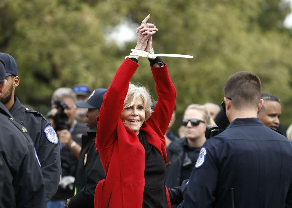 Jane Fonda Actor Jane Fonda has been known for her activism throughout her decades-spanning career. She was arrested in 1970 for protesting the Vietnam War. Despite continued action against the conflict, Fonda avoided further arrests until 2019, when she was arrested five times while protesting fossil fuels and calling for environmental action.