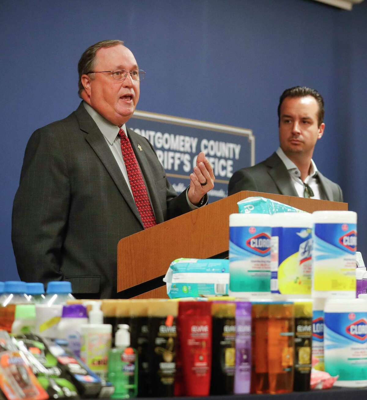 Montgomery County Sheriff's Office Capt. Tim Holifield speaks during a press conference where authorities detailed a criminal investigation involving the manipulation and use of coupons by several suspects totaling $40,000 in stolen merchandise, Tuesday, June 29, 2021, in Conroe. The stolen items were organized and donated to various local organizations.