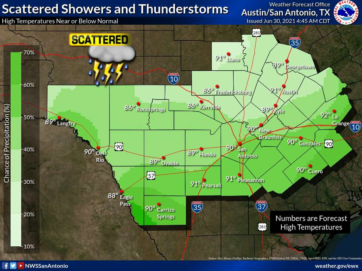 San Antonio is in store for another day of scattered showers and thunderstorms.