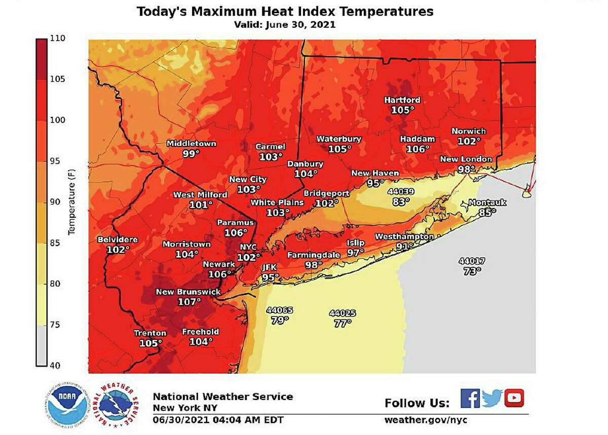 Heat index values in Connecticut are expected to reach around 104 degrees again on Wednesday, June 30, 2021, leaving the state under a heat advisory until 8 p.m.