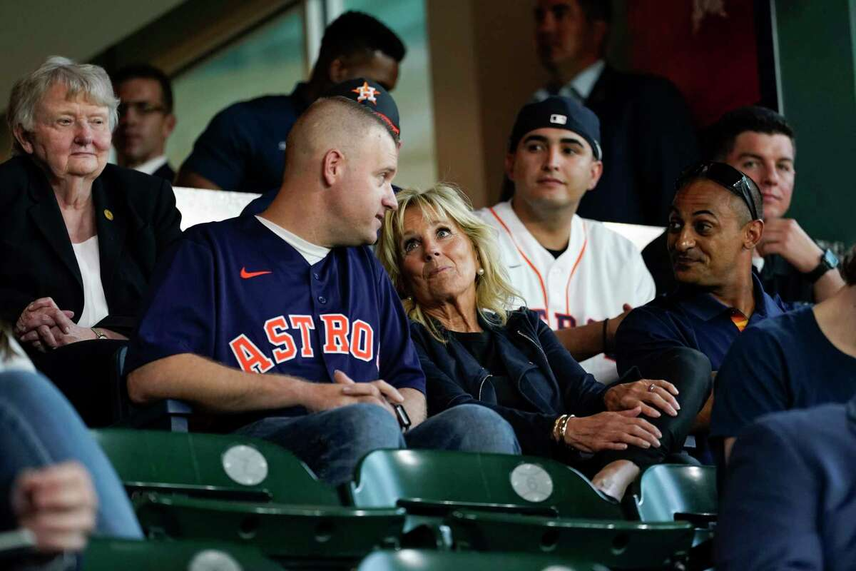 First lady Jill Biden attends baseball game between the Houston Astros and the Baltimore Orioles with members of the military and first responders at Minute Maid Park, in Houston, Tuesday, June 29, 2021. (AP Photo/Carolyn Kaster, Pool)