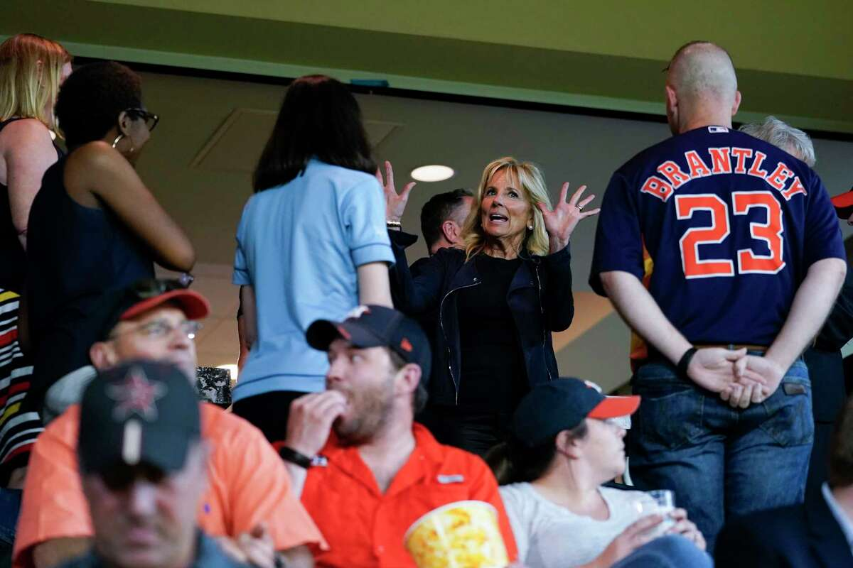 First lady Jill Biden attends a baseball game between the Houston Astros and the Baltimore Orioles at Minute Maid Park, in Houston, Tuesday, June 29, 2021. (AP Photo/Carolyn Kaster, Pool)