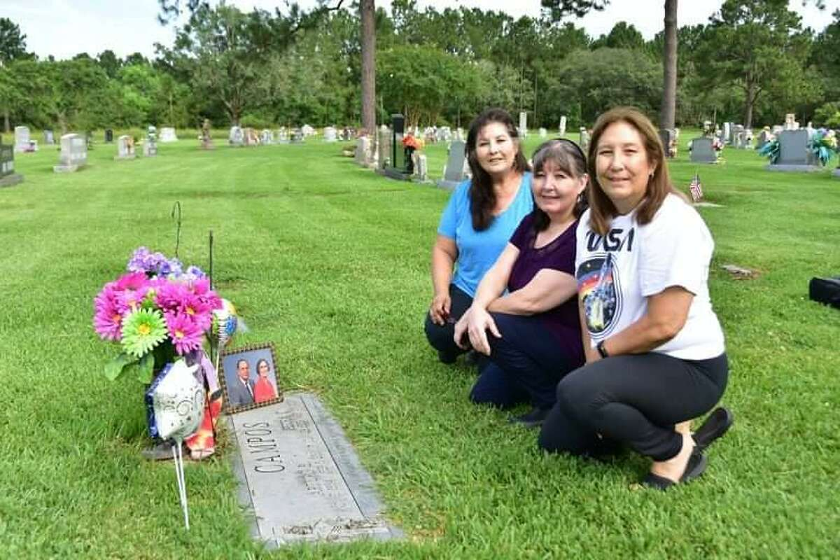 Sisters Yvette Campos Brewer, Leticia Campos Maddix and Deanna Campos Ranck visited their parents' gravesite Tuesday, June 29, 2021 to honor their mother's birthday and their father's victory in NASA's Name the Artemis Moonikin Challenge.