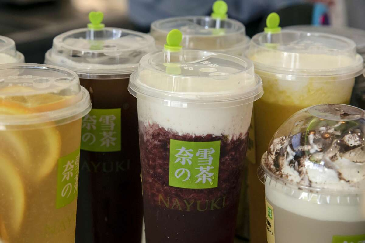 Various drinks on a counter inside a Nayuki Holdings Ltd. bubble tea store in Shanghai, China, on Tuesday, June 29, 2021. Photographer: Qilai Shen/Bloomberg