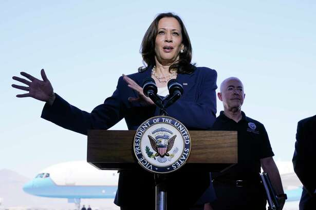 Vice President Kamala Harris talks to the media, Friday, June 25, 2021, after her tour of the U.S. Customs and Border Protection Central Processing Center in El Paso, Texas. Harris visited the U.S. southern border as part of her role leading the Biden administration's response to a steep increase in migration.