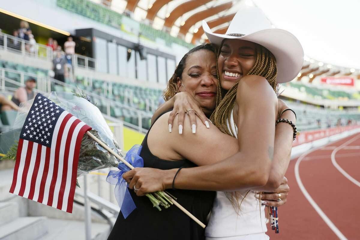 EUGENE, OREGON - JUNE 26: Tara Davis, second place in the Women's Long Jump Final, celebrates with her mother Rayshon Davis on day nine of the 2020 U.S. Olympic Track & Field Team Trials at Hayward Field on June 26, 2021 in Eugene, Oregon. (Photo by Steph Chambers/Getty Images)