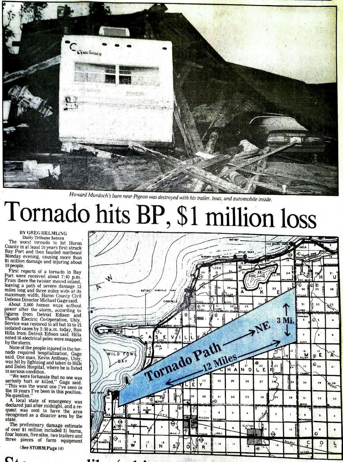 This front page story from the Tribune's June 13, 1984 issue shows the path the strongest tornado to hit Huron County took. This tornado was the only EF-3 rated one to hit the area. (Tribune File Photo)