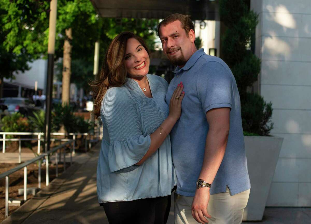 Alondra Martinez and fiance Tyler Knighton pose for a photographFriday, June 18, 2021, at River Oaks shopping district in Houston. Martinez was overweight, diagnosed with Type 2 diabetes and struggling with her health to the point of going into a diabetic coma. Doctor's advice didn't work, nor did a personal trainer. It wasn't until her then boyfriend told her he was scared of losing her and that couldn't happen because he wanted to marry her -- that she began to take her health seriously.