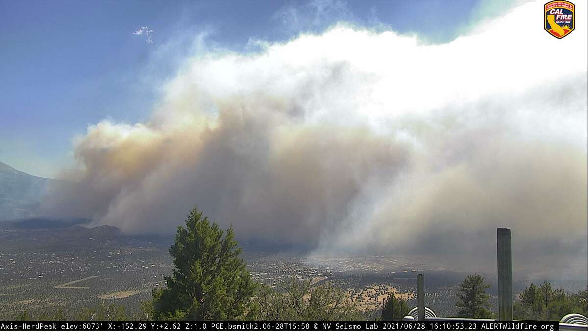 The Lava Fire is burning in Siskiyou County and threatening the community of Weed. A Cal Fire webcam showed the massive amounts of smoke created by the blaze June 28, 2021.