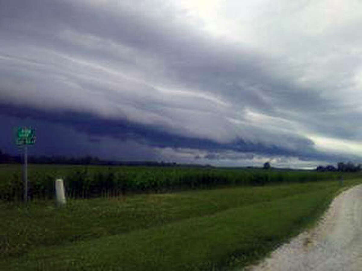 Storm clouds move across Scott County on Tuesday evening.