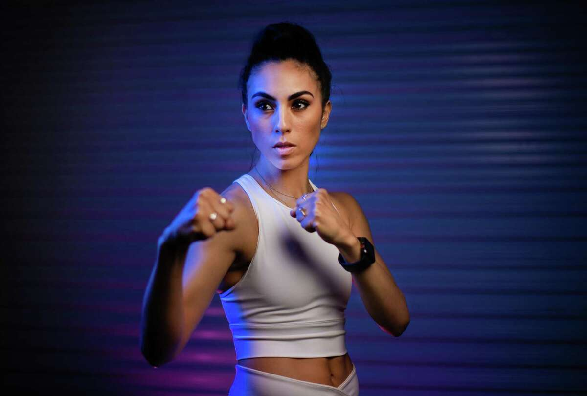 Olympic taekwondo athlete Victoria Stambaugh at Taekwondo & Parkour a gym she co-owns, Monday, May 17, 2021, in The Woodlands. Stambaugh, a native Houstonian will be representing Puerto Rico in the 2020 Summer Olympics in Tokyo.