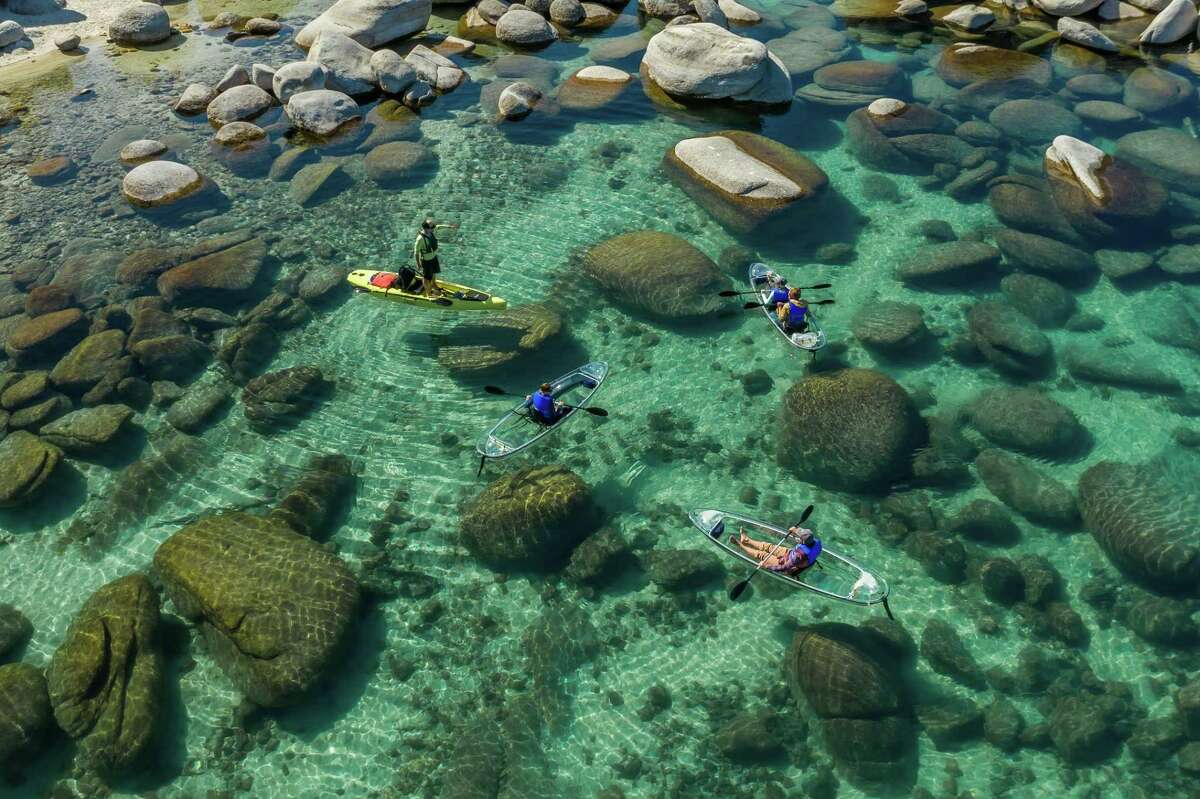 Glass-bottom kayakers in Sand Harbor on Lake Tahoe.