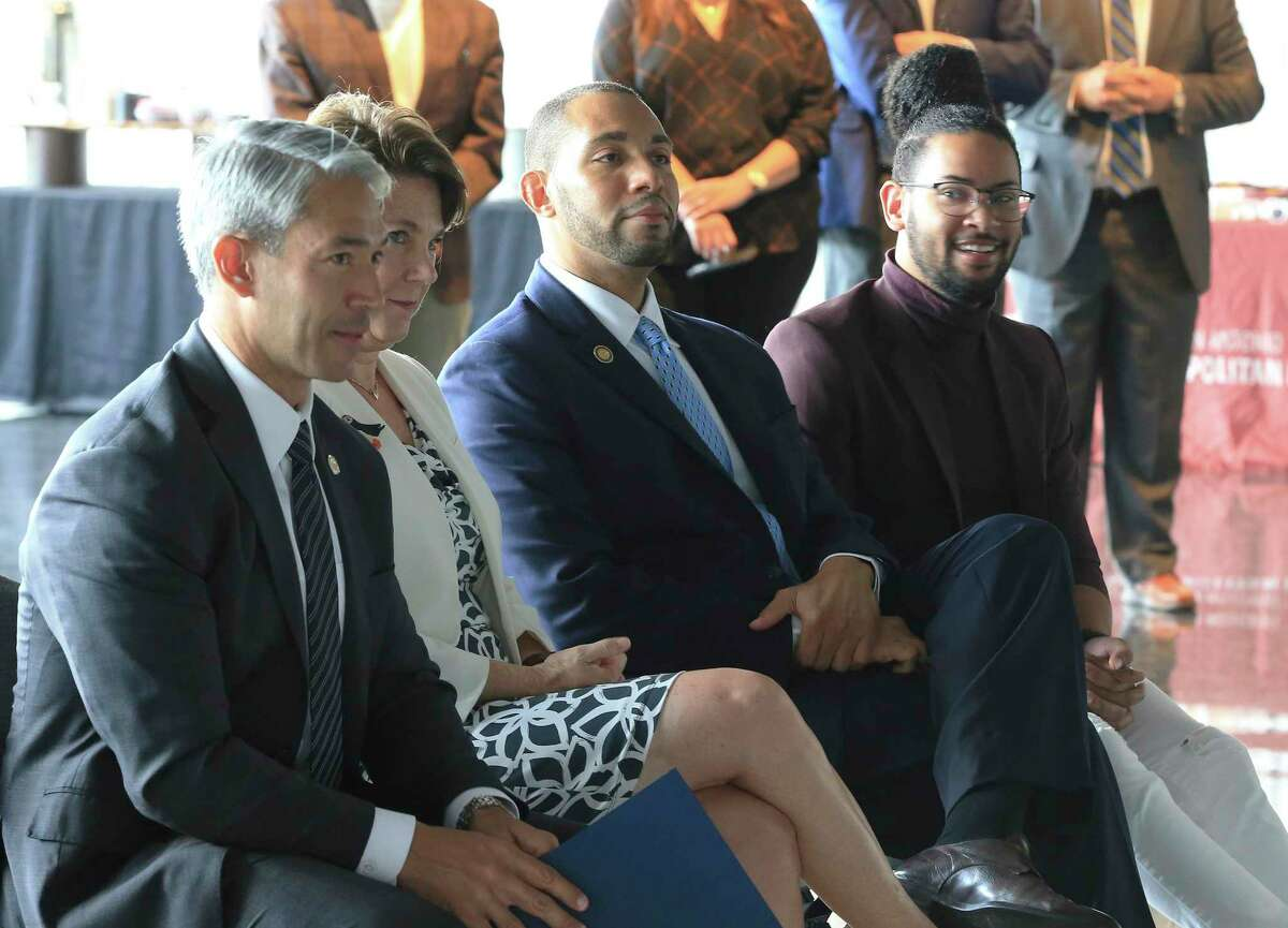Mayor Ron Nirenberg (from left to right), Assistant City Manager Colleen Bridger, Bexar County Commissioner Precinct 4 Tommy Calvert and District 2 Councilman Jalen McKee-Rodriguez gather at a news conference to make a push for people to get vaccinated against Covid-19 at the AT&T Center on Wednesday, June 30, 2021.