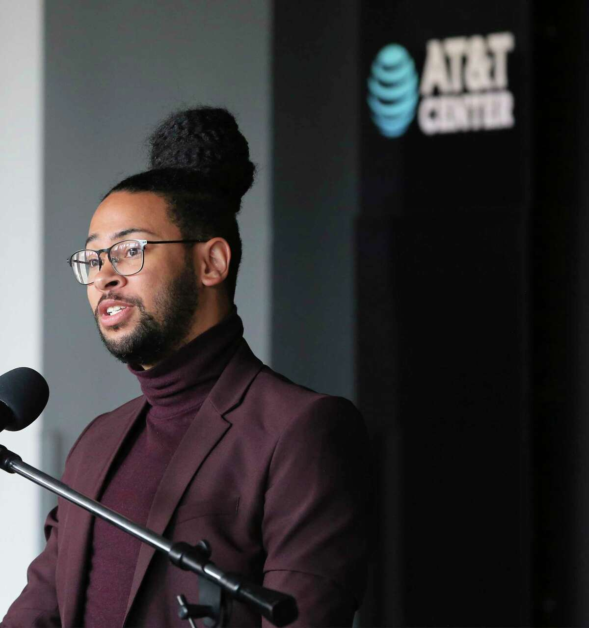 District 2 Councilman Jalen McKee-Rodriguez speaks as city and county officials make a push for people to get vaccinated at a press conference at the AT&T Center on Wednesday, June 30, 2021.