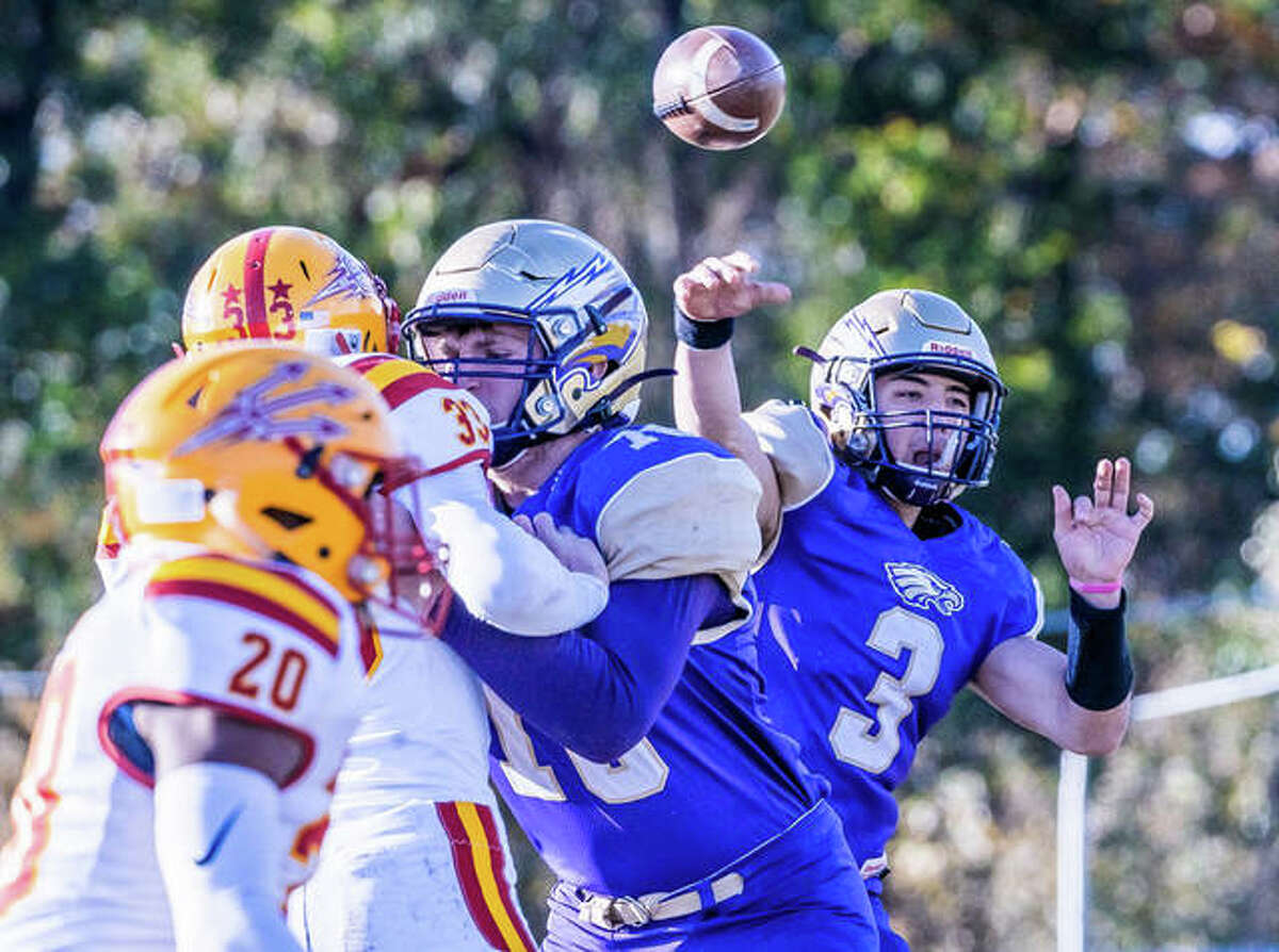 Noah Turbyfill (3), shown in action during his days with CM, threw a pair of touchdown passes to Travis Smith in the Central Illinois Cougars' 16-8 win over the previously unbeaten Jackson, Tennessee Stampede at Gordon Moore Park.
