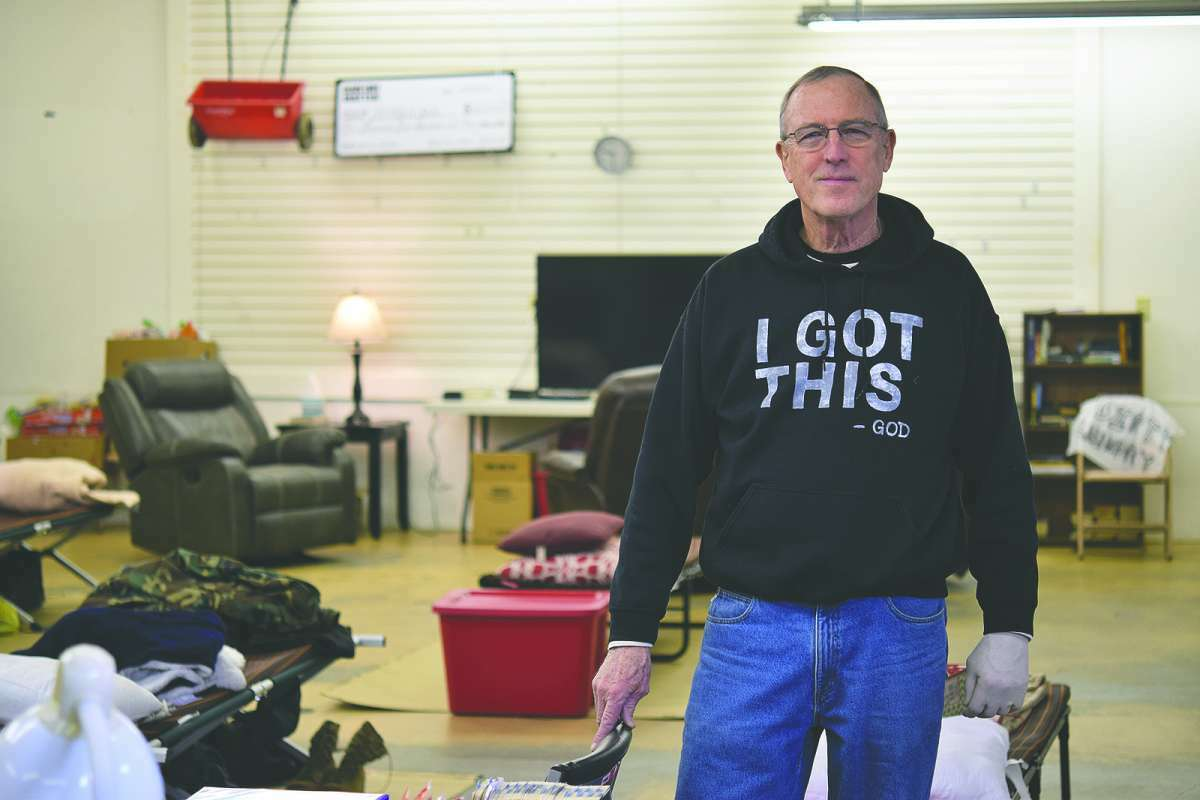 Alan Bradish stands in the men's area of the Temporary Emergency Overnight Shelter Accommodation in Jacksonville. The facility provided assistance to those without shelter during the winter and while pandemic restrictions forced the temporary closing of the city's homeless shelter.
