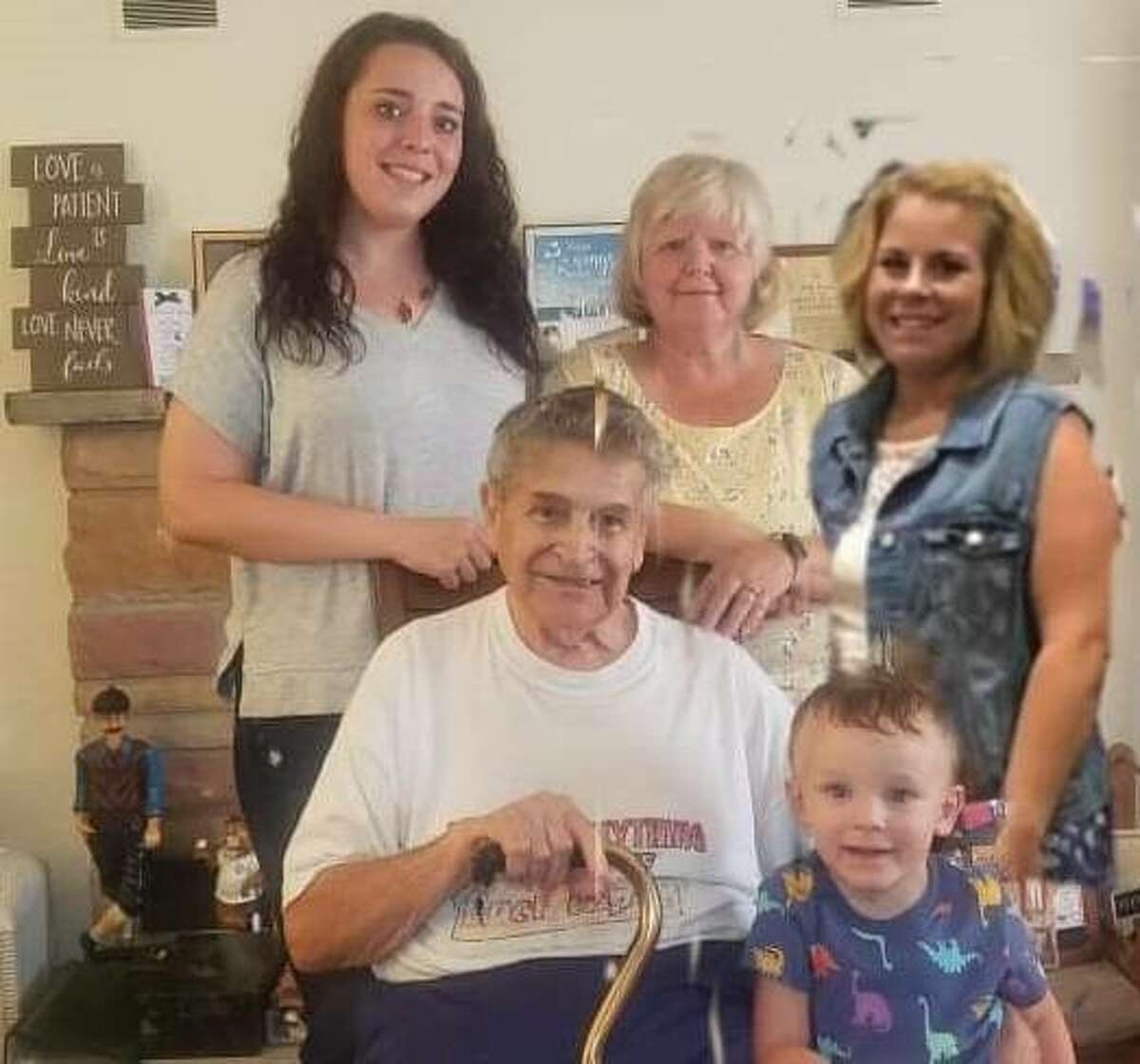"""Gathering recently for a five-generation photo were, in front from left, Lathey """"Bill"""" Malson and Nathan Maddox; in back from left, Kori Sheppard, Debra Durocher and Amy Foster."""
