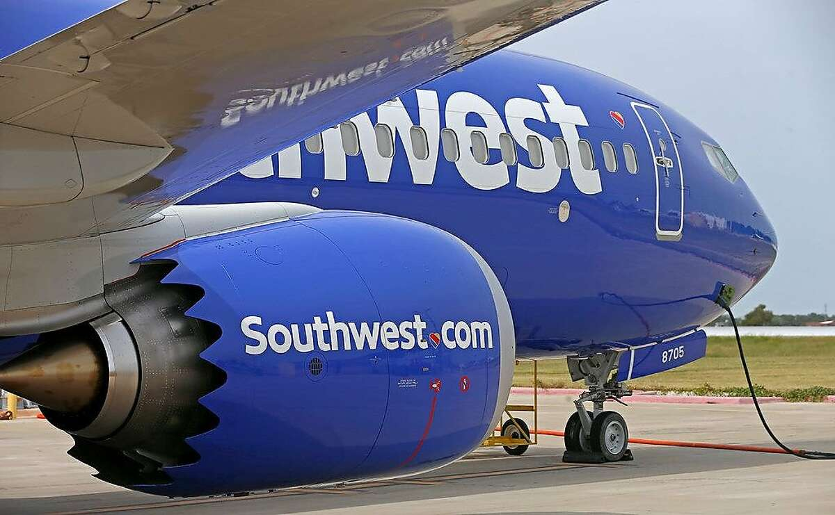 Southwest Airlines' new plane, the 737 Max, at headquarters in Dallas, Tuesday, Sept. 12, 2017.