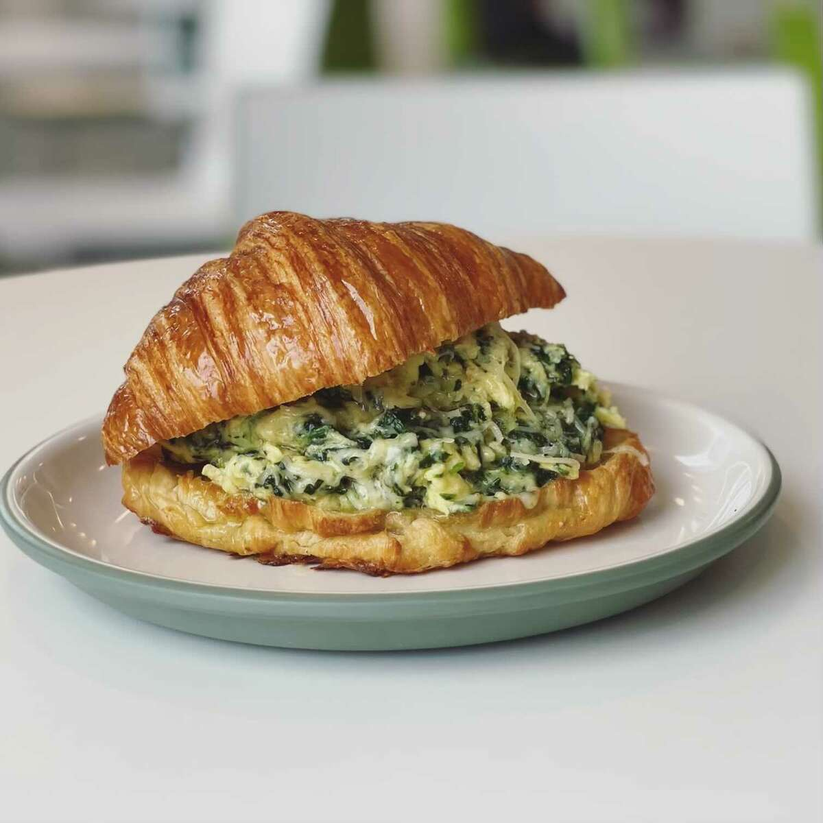 An egg croissant with spinach and Gruyere at Norwalk's Art Space Cafe