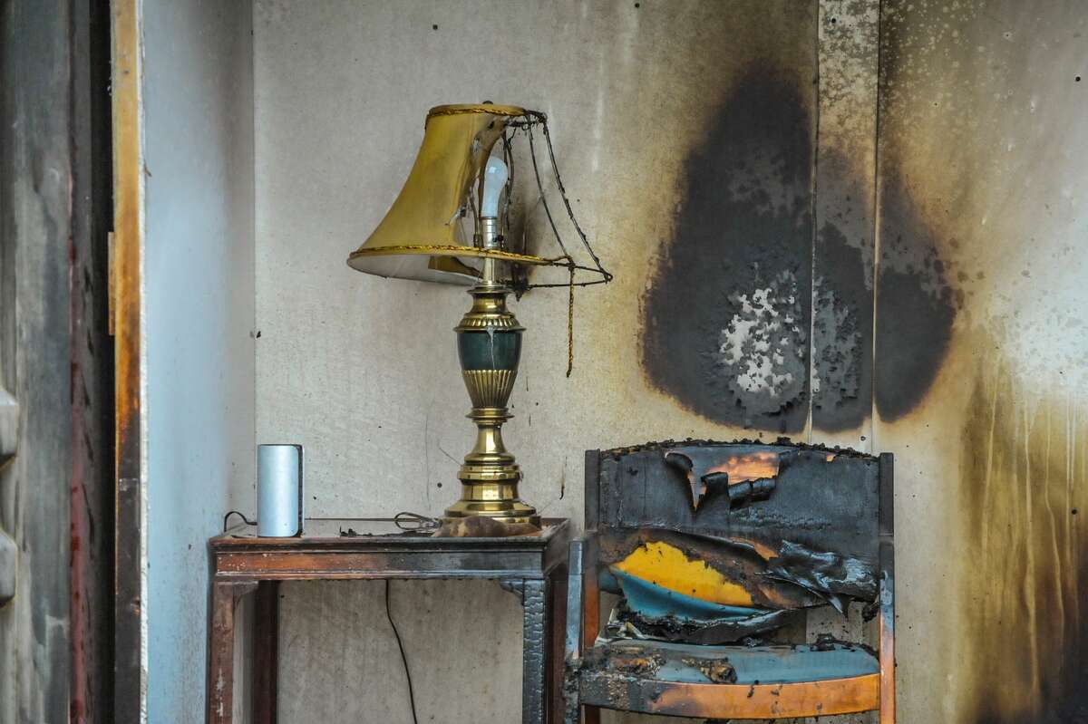 The aftermath of a fire.