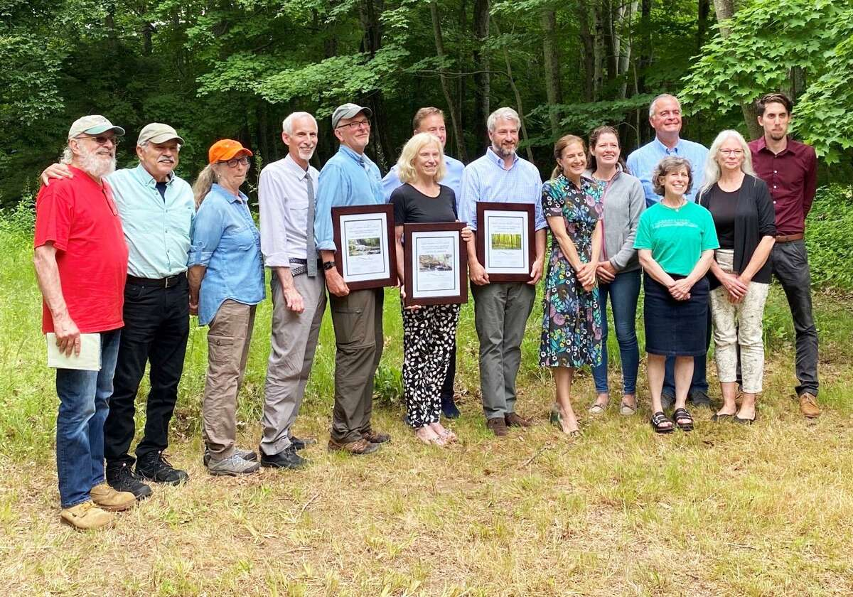 The Connecticut Land Conservation Council Excellence in Conservation Organization Award was presented to the East Haddam Land Trust and East Haddam Historical Society for their work in developing mini-documentaries and a museum exhibit on Land Trust preserves.