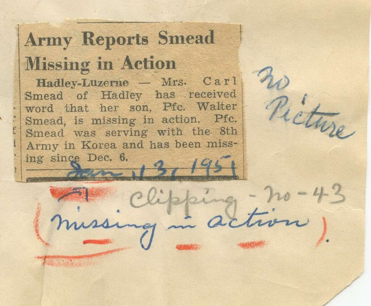 This notice of Walter Smead missing in action has been saved in Saratoga County Historian's records for 70 years.