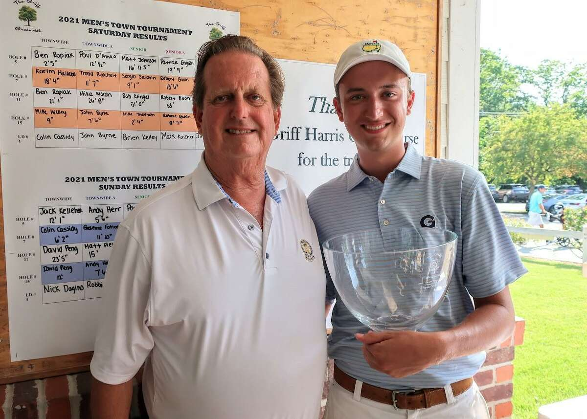 Ben Ropiak, right, poses with head professional Joe Felder after winning the 76th Greenwich Men's Townwide Golf Tournament on Sunday at Griffith E. Harris Golf Course in Greenwich.