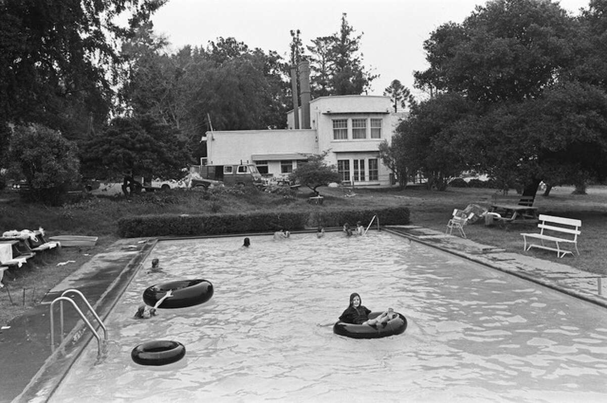 This historic photo shows the swimming pool at Olompali during the chosen family's residence.