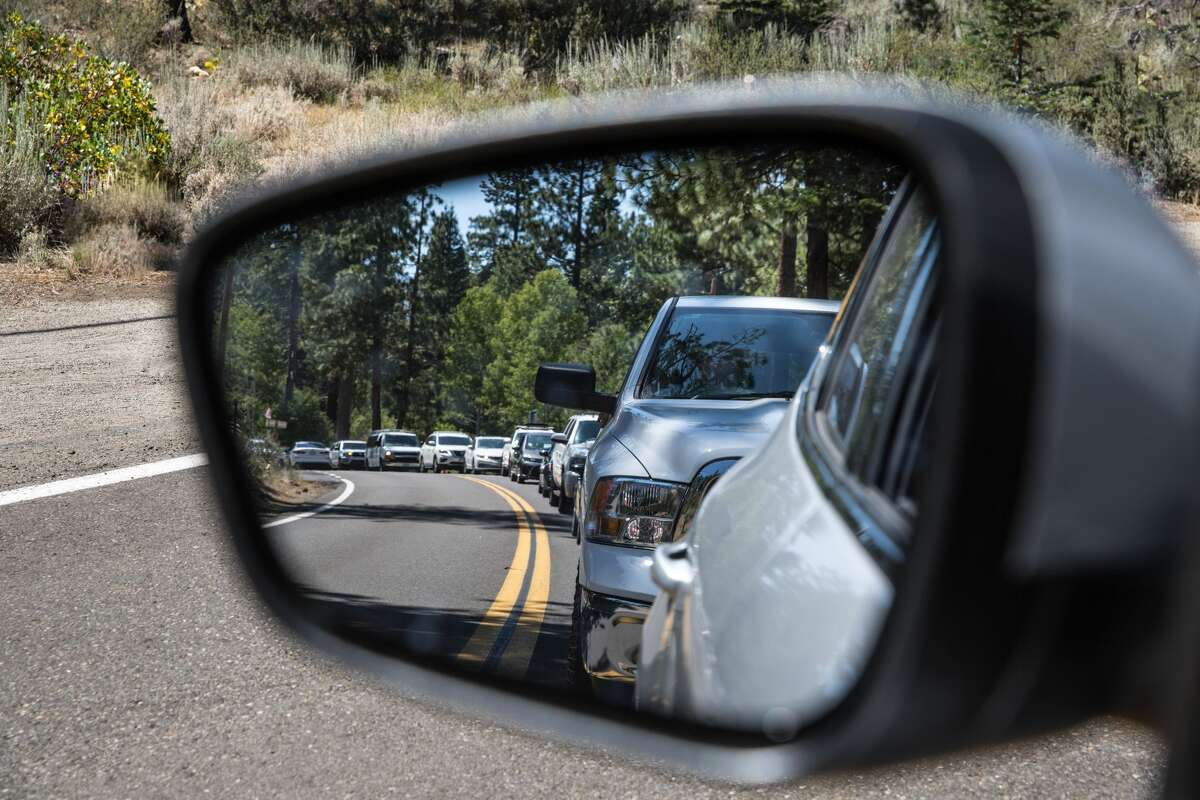 Traffic heading to Emerald Bay is backed up near Camp Richardson on Aug. 9, 2020, in South Lake Tahoe. California Highway Patrol says traffic has increased dramatically this summer, as the Fourth of July holiday weekend approaches.