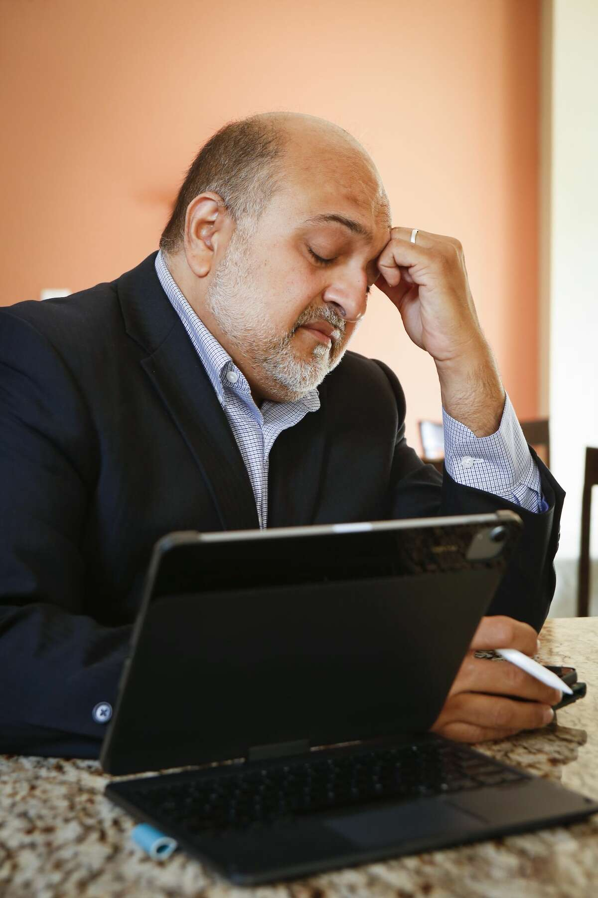 """""""I feel exhausted"""" Hasan Gokal said before he is interviewed by a reporter via the phone after receiving a no-billed by Harris County grand jury Wednesday, June 30, 2021, in Sugar Land."""