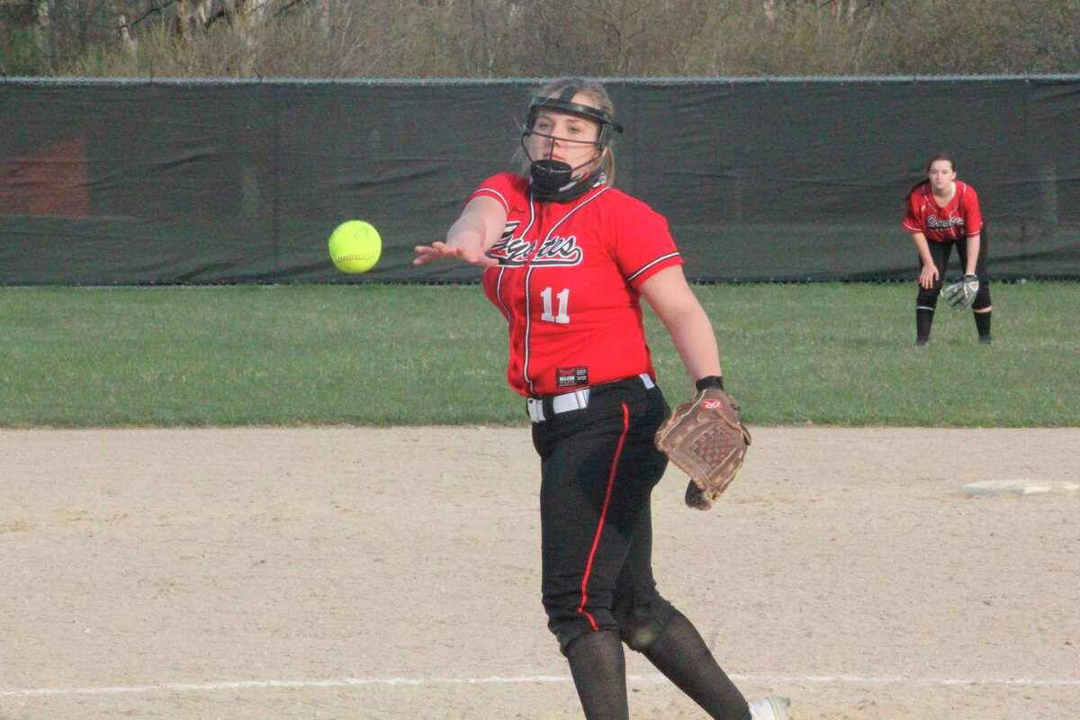 Rylie Schafer pitches for Reed City early in the season. (Pioneer file photo)